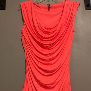 Coral scallop strap ruched side blouse tank